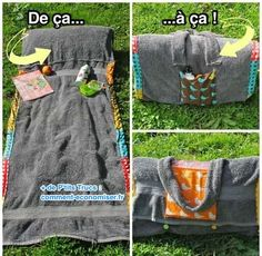 A Sunbathing Companion. It's a DIY beach towel lounger/carrying case. I don't have a sewing machine, but this looks like something I'd actually use (the sunbathing companion) if I had it. Cute Crafts, Crafts To Do, Diy Crafts, Towel Crafts, Fabric Crafts, Sewing Crafts, Sewing Projects, Crochet Crafts, Do It Yourself Inspiration