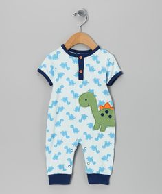 Blue Dino Henley Playsuit