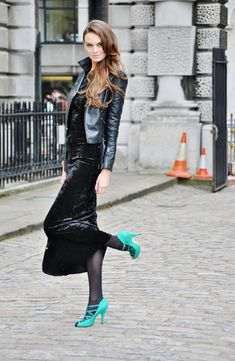 A black velvet dress is great for Autumn especially when u color pop the shoes!
