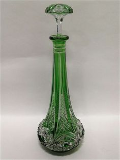 "Baccarat Emerald Green Decanter "" Genie bottle Shape"" 20th Century 