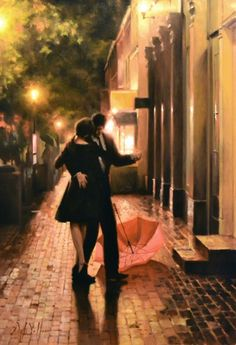 Original Paintings by Daniel Del Orfano Couple Painting, Couple Art, Romance Art, Vintage Romance, Dancing In The Rain, Rain Dance, Dancing Couple, Learn To Dance, Love Art