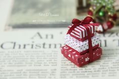 Set of THREE Merry RED Christmas gift boxes by PetitDlicious, $8.50