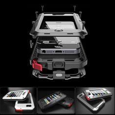New Aluminum Metal Cases Gorilla Glass for iPhone 4 4S 5 Dust /Shock/Waterproof