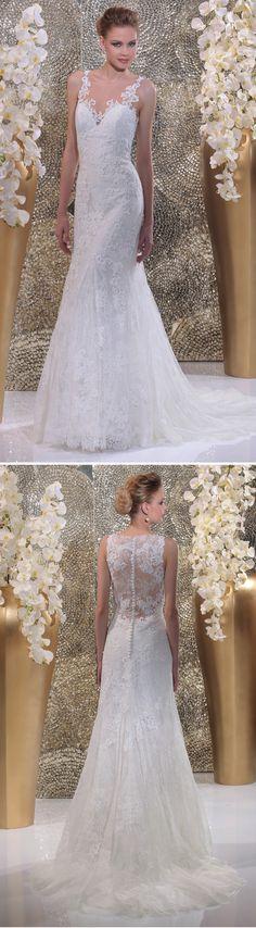 """Isabel de Mestre - Gold Label Kollektion 2016: Brautkleid """"Laroche"""" mit Spitzenträgern und transparentem Rücken mit Spitzenverzierung."""