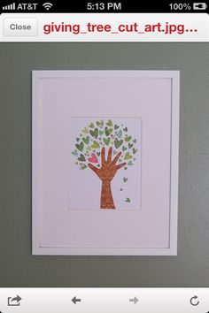 """use teachers hand and have kids make hearts with thumb/fingerprints?  could have kids use different shades of green for leaves & have each use a different color to put their mark in the tree?  could have key for colors at bottom of picture as seen in other projects OR have kids write their name on the """"flower"""""""