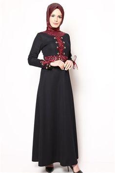 Bağcıklı Tesettür Elbise Lacivert NB 2413