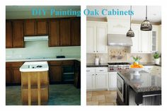 before and after painted oak cabinets with a dark island.  Cabinets are white counter is dark