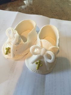 Baptism baby shoes made out of gum paste