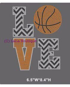 Basketball iron on hotfix rhinestone transfers - LOVE basketball - motif - applique for DIY shirts t-shirts - mom kids grandma, aunt on Etsy, $9.99