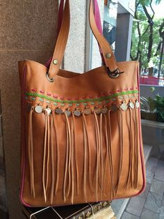 Brown leather tote fringes tote bag soft leather bag by Percibal