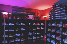 Added the Phillips HUE lighting system to the shoe room, to give it some crazy looks. Shoe Room, Shoe Wall, Shoe Storage Wardrobe, Shoe Closet, Phillips Hue Lighting, Sneaker Storage, Hypebeast Room, Man Cave Room, Dream Home Design