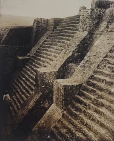 Steps of the main Aztec pyramid at Teopanzolco in the state of Morelos, Mexico, circa 1875, photo by Teobert Maler, courtesy of the Getty.