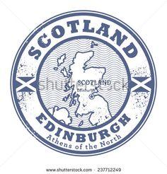 Grunge rubber stamp with words Scotland, Edinburgh inside, vector illustration - stock vector