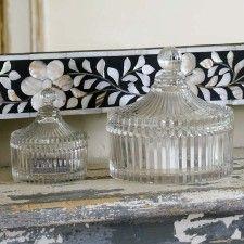 Glass Ribbed Trinket Jars