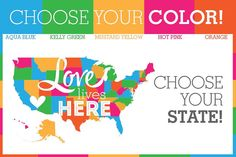 Show love to your state with these adorable Love Lives Here tags! These tags are perfect for a baby shower, wedding, bridal shower, party, Baby Shower Tags, Bridal Shower, Shower Party, Kelly Green, Mustard Yellow, Love Life, Live For Yourself, Aqua Blue, Hot Pink