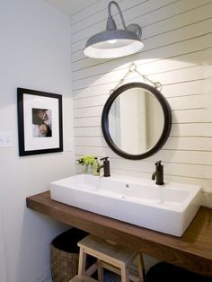 Double Faucet Sink Bathroom, Trough Sink Double Faucet, Bathroom Sink  Ideas, Ship Lap Powder Room