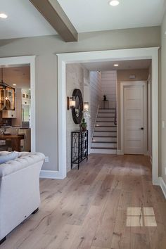 Sherwin Williams Accessible Beige White Oak with Hardwood Floor Sherwin Williams Accessible Beige #SherwinWilliamsAccessibleBeige