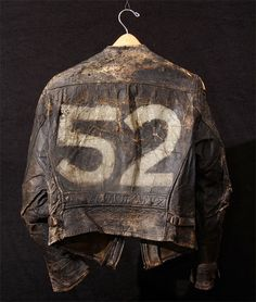 Vintage Cars - Super-distressed and very well-worn describe this the awesome early biker jacket with handpainted on the back. Vintage Leather Jacket, Leather Men, Leather Jackets, Leather Belts, Black Leather, Jacket Style, Vest Jacket, Bomber Jacket, Brown Dress