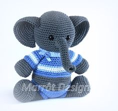 Olifantje Finn Crochet Elephant, Amigurumi Toys, Crochet Toys, Fun Crafts, Projects To Try, Teddy Bear, Dolls, Knitting, How To Make