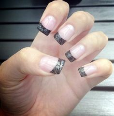 Trendy Nails Shellac Glitter French Tips Ideas French Nails, French Tip Acrylic Nails, Cute Nails, Pretty Nails, My Nails, Fabulous Nails, Gorgeous Nails, Sparkly French Tips, Finger