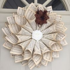 """20"""" Large Handmade Antiqued Sheet Music Note Paper, Cone Wreath, Round Cone Wreath, by TheIvyVineGGC on Etsy"""