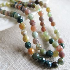 India agate beads 6mm faceted round natural color by FARRAgem