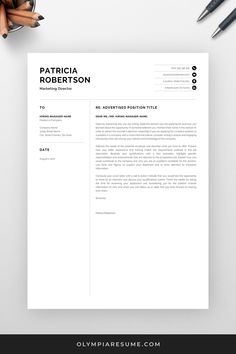 When applying for jobs, including a cover letter can make a difference. Use a professional, well-designed cover letter template, so that you can focus on writing great content instead of stressing about the formatting. Get the professional resume template pack Patricia with matching resume, cover letter and references templates, and create an impressive job application today! #coverletter #resume #resumetemplate #cv #cvtemplate #resumetips #career #careertips #job #jobsearch Creative Cv Template, One Page Resume Template, Modern Resume Template, Professional Cover Letter Template, Cover Letter For Resume, Wise Sayings, Wise Quotes, Cv Words, Resume References