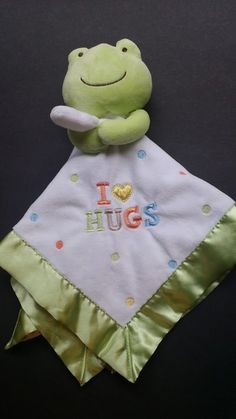 Carters Frog I Love Hugs Green White Dots Security Blanket Rattle Baby Lovey #Carters