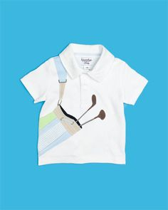 Hahahahaha! A little white polo shirt that looks like the kid is lugging around clubs. I like funny shirts like these.