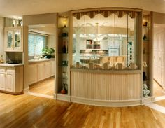Kingsport Residence No. 4 -Kitchen Redesign with carved glass under-lit with fiberoptics . Carved Glass designed by Sherrie Sullivan Glass Design, Carving, Architecture, Places, Kitchen, Table, Furniture, Home Decor, Arquitetura