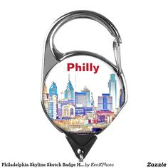 Philadelphia Skyline Sketch Badge Holder: our most popular image in a new product!