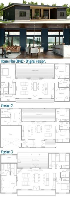 Small House Plan - version but turn the bedroom into the kitchen, remove that wall, set two sided fireplace in between living/ piano room and dinning area design plans layout Small Floor Plans, Home Design Floor Plans, Small House Plans, Single Level Floor Plans, Family House Plans, Floor Design, Bedroom Layouts, House Layouts, Bedroom Ideas