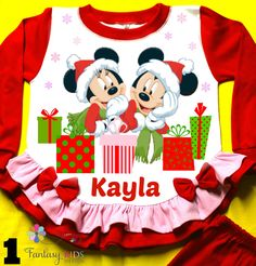 """Minnie and Mickey Christmas Personalized Pajama made of 100% Import cotton. Handmade in U.S.A from """"Fantasy Kids"""" by FantasyKidsDesigns on Etsy https://www.etsy.com/listing/206322340/minnie-and-mickey-christmas-personalized"""