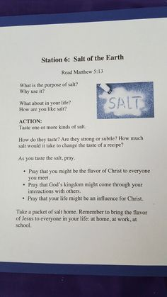 Station Salt of the Earth Matthew Advent Prayers, Easter Prayers, Object Lessons, Bible Lessons, Prayer Ministry, Youth Ministry, Youth Retreat Ideas, World Day Of Prayer, Kids Sunday School Lessons