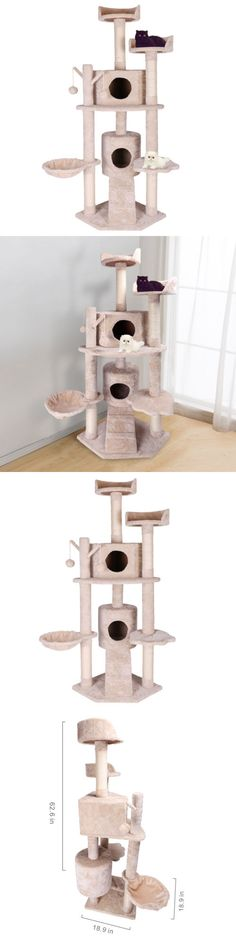 Animals Cats: 63 Cat Tree Tower Condo Scratcher Post Pet Kitten House Cat Play Toy Furniture BUY IT NOW ONLY: $54.99