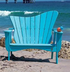 Uwharrie Chair Wave Garden Bench Color: B. Aqua (Distressed), Style: Right-Side Facing Beach Cottage Decor, Coastal Cottage, Coastal Style, Coastal Decor, Nautical Style, Cottage Ideas, Coastal Living, Coastal Entryway, Coastal Rugs