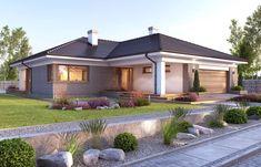 Nela V - zdjęcie 2 Modern Brick House, Modern Family House, Modern Exterior House Designs, Cool House Designs, Tuscan House Plans, Simple House Plans, Beautiful House Plans, Beautiful Homes, House Plans Mansion