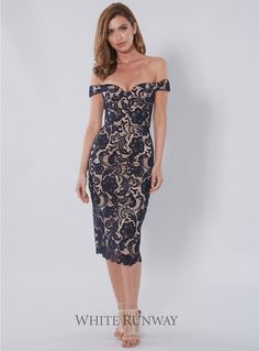 Stella Dress. Stunning lace dress by Australian designer Love Honor. A flattering midi dress with a sweetheart neckline, corset bodice and draped off-shoulder sleeves. Available in Black/Nude, Navy/Nude and Ivory/Nude.