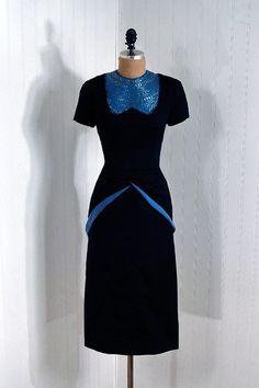 Interesting yoke.    Dress  1940s  Timeless Vixen Vintage