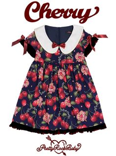 Pretty Rock Baby -Large Cherry- Casual Lolita Dresses and Skirts (Navy Blue X Black Colorway Version)