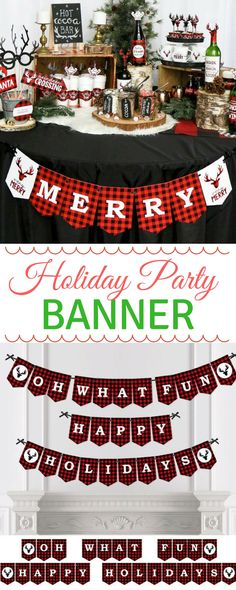 Buffalo Plaid Bunting Banner - Holiday Party Bunting Banner & Decorations - Hanging Custom Prancing Plaid Christmas Party Décor - Lumberjack #ad