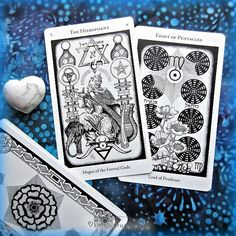 The Hierophant and 8 of Pentacles from the Hermetic Tarot. / Photo © www.VioletAura.com
