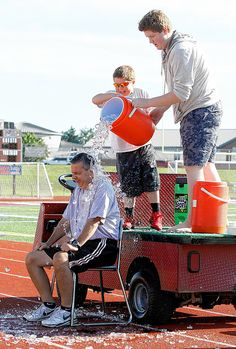 Canal Winchester Middle School students paid $1 each last week to see high school Principal Kirk Henderson, assistant principals Greg Lahr and Deborah Finck, and Student Activities Coordinator Kent Riggs showered with ice water.