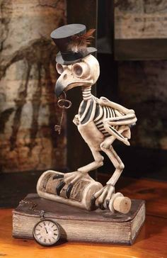 Bethany Lowe Grimore Owl Skeleton