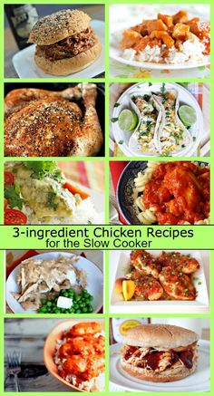 Ten 3-ingredient Slow Cooker Chicken Dinner Recipes- so many great ideas for super easy meals for busy weeknights.