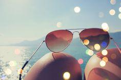 glasses knee lake sea summer