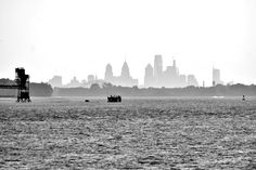 Philly Skyline Shot from Logan's Point and Sarobia in Monochrome.