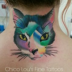 Modern art kitty cat tattoo, pet portrait, and a cover up, Chico Lou's Fine Tattoos, Athens GA