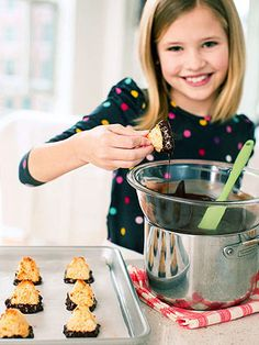Make some Chocolate-Dipped Macaroon Pyramids!