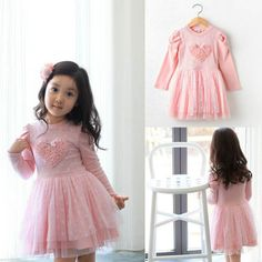 Pinks Kid Baby Girls Party Dresses Long Sleeve 3D Heart Tulle Tutu Dress 2-7Y UK #Affiliate